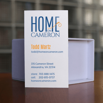Home on Cameron Business Card Design Information Side