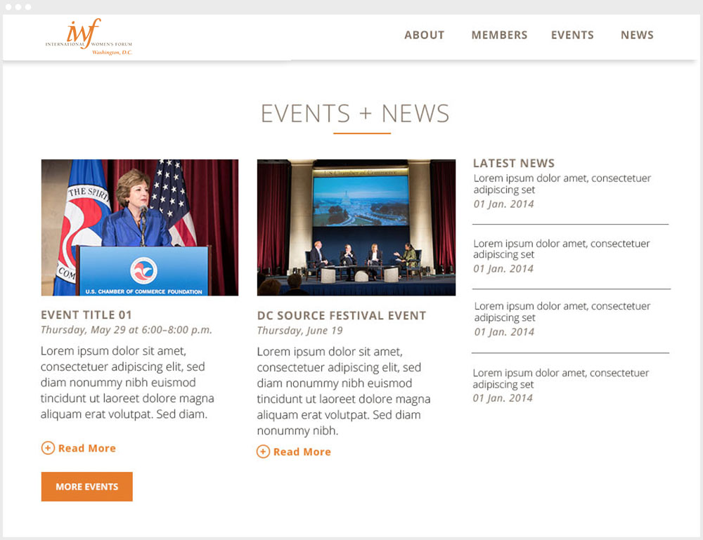 IWFDC Washington DC Wordpress Website Design & Development News & Events Page