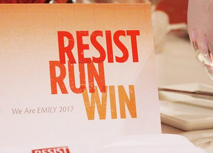 Emily's List Gala Event Resist Run Win Card Design