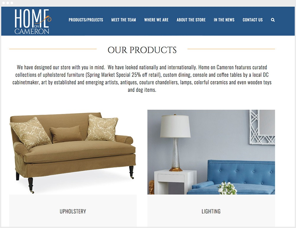 Home On Cameron Wordpress Product Catalog Design & Development