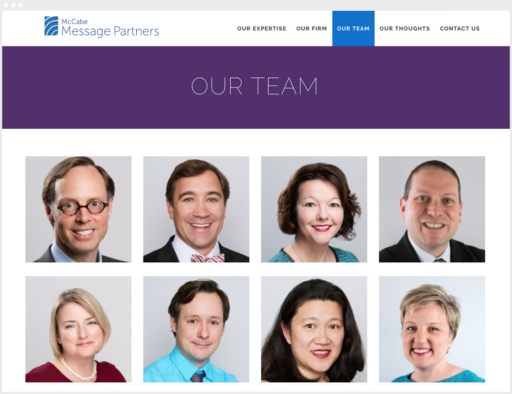 McCabe Message Partners Washington DC Wordpress Website Design & Development Team Page