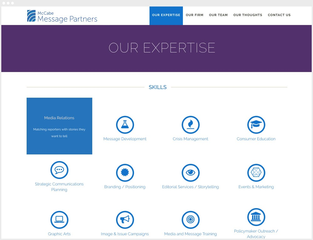 McCabe Message Partners Washington DC Wordpress Website Design & Development About Us Page