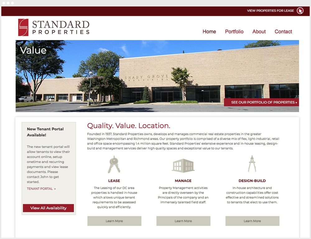 Standard Properties Wordpress Website Homepage