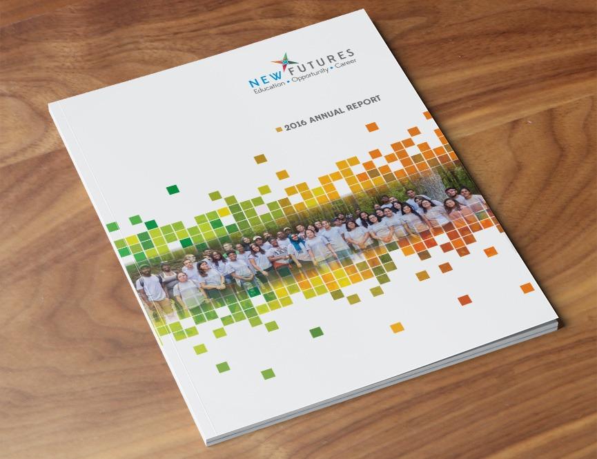 New Futures 2016 Cover Annual Report Design Print Design